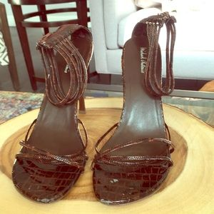 Michael Antonio high heels strappy croc embossed